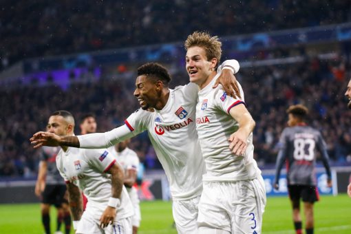 Joachim ANDERSEN of Lyon and Jeff REINE ADELAIDE of Lyon celebrate a goal during the Champions League match Lyon and Benfica at Parc Olympique on November 5, 2019 in Lyon, France. (Photo by Romain Biard/Icon Sport) - Joachim ANDERSEN - Jeff REINE ADELAIDE - Groupama Stadium - Lyon (France)